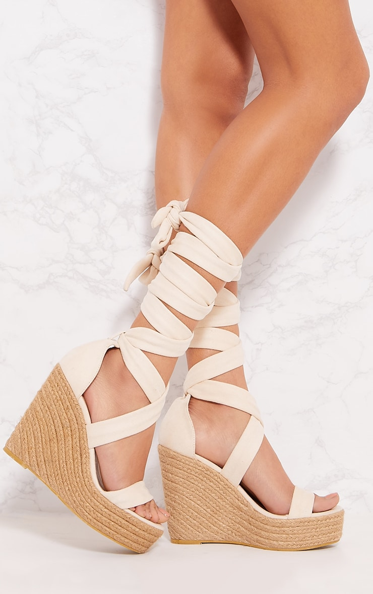 Nude Leg Wrap Espadrille Wedge Sandal 1