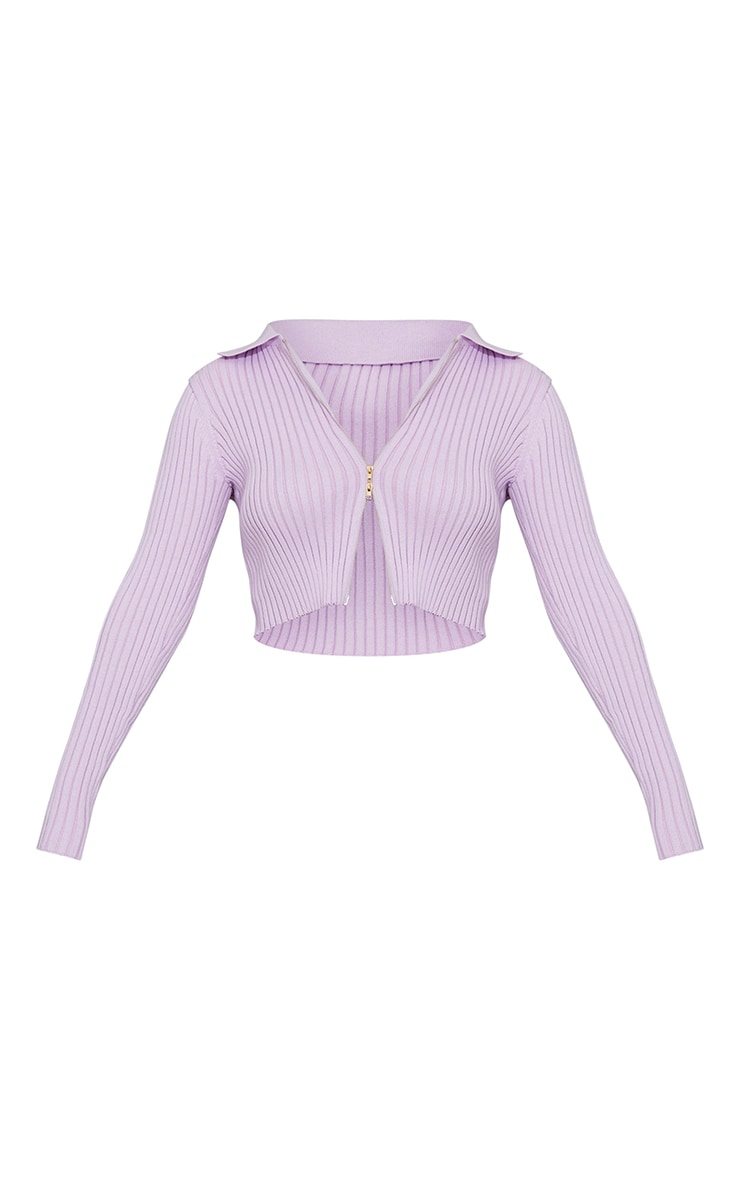 Lilac Double Zipped Knitted Crop Top 5