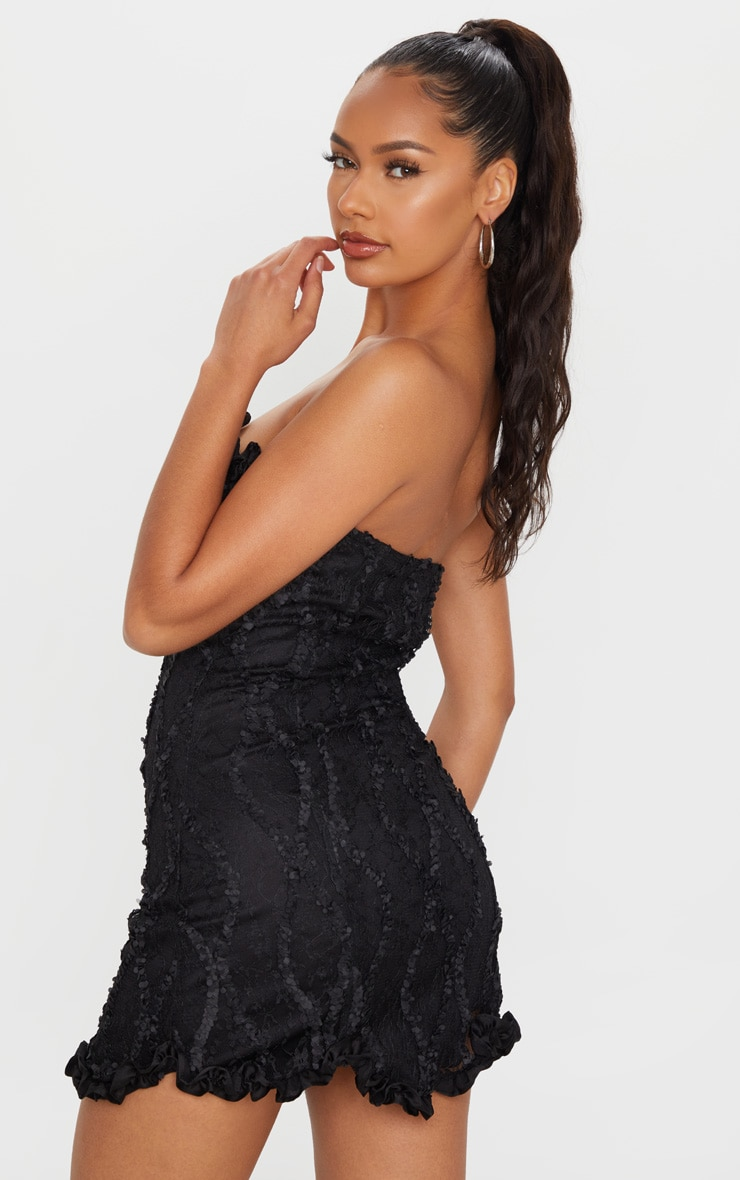 Black Hook & Eye Lace Embroidered Bandeau Bodycon Dress 2