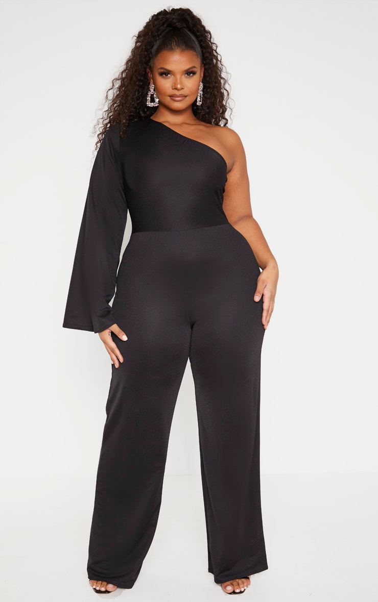 Plus Black One Shoulder Jumpsuit 1