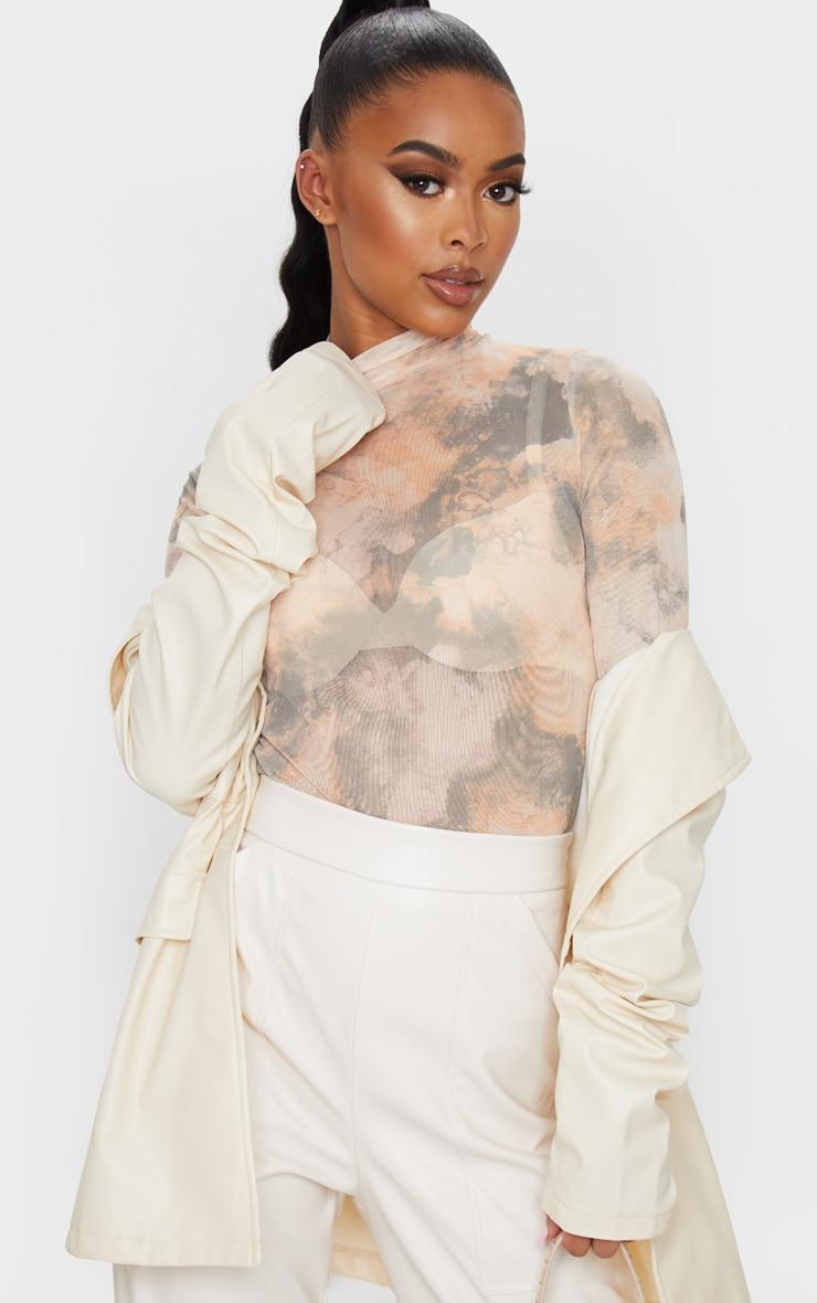 Brown High Neck Marble Printed Mesh Long Sleeve Top 4