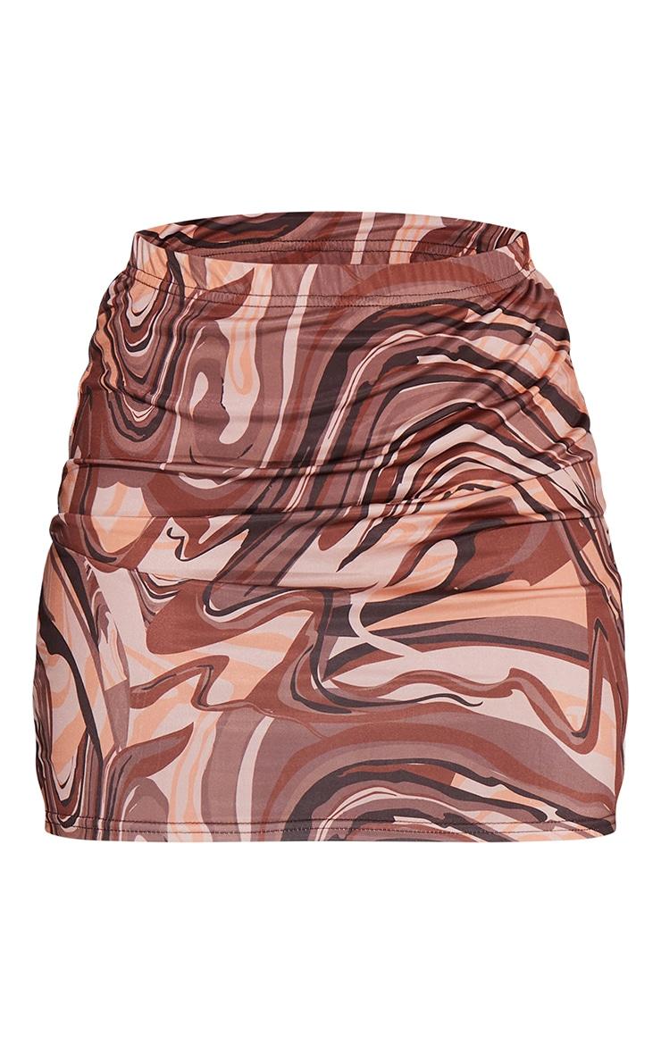 Stone Marble Print Printed Slinky Mini Skirt 6