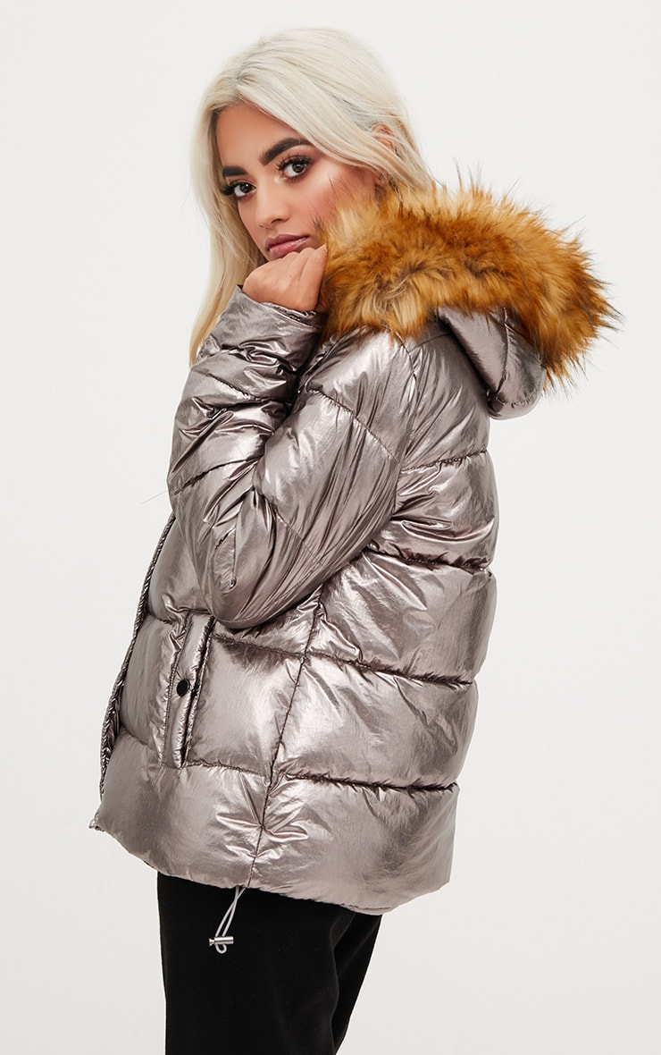 Gunmetal Foil Puffer Jacket With Faux Fur Hood 2