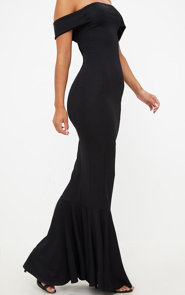 Black Bardot Frill Hem Maxi Dress 5