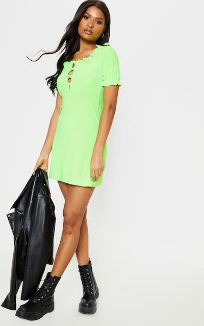 2cb6da52a Neon Lime Ruffle Lace Up Shift Dress
