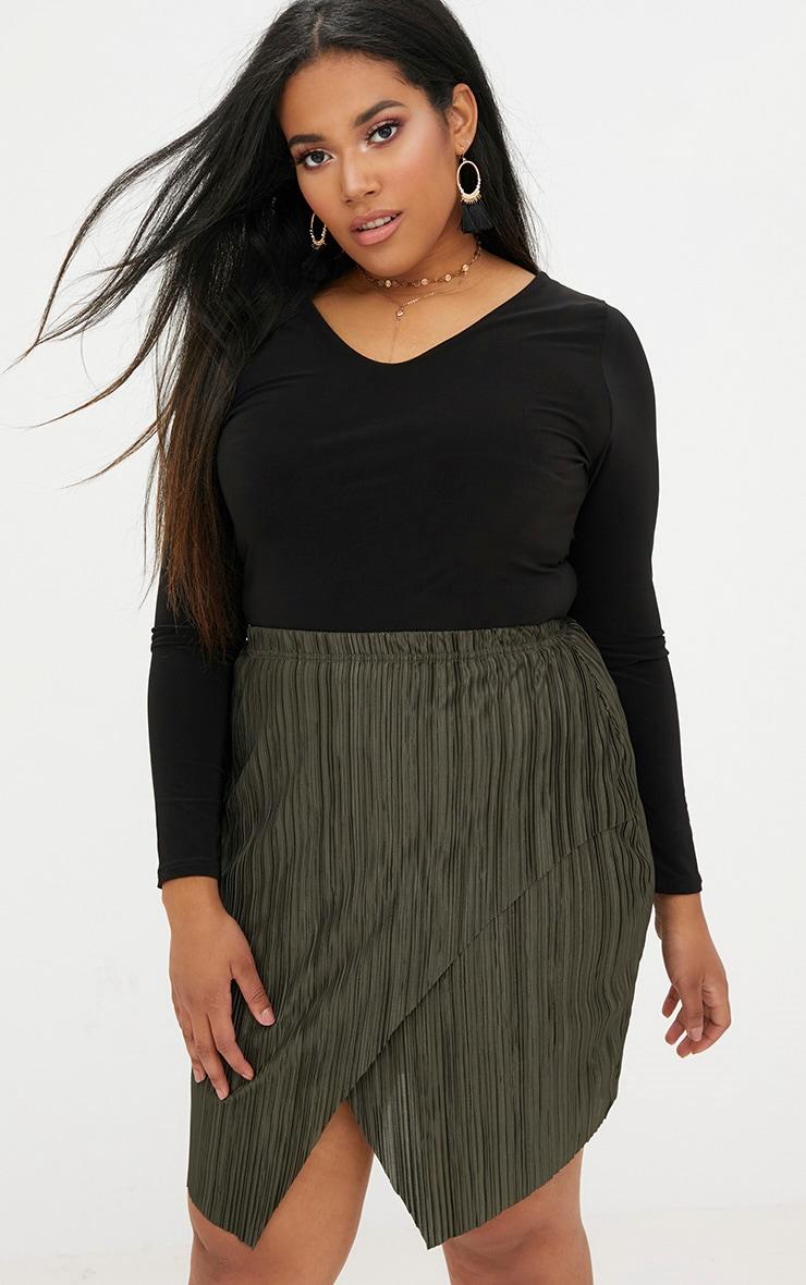 Plus Emerald Green Pleated Wrap Mini Skirt 1