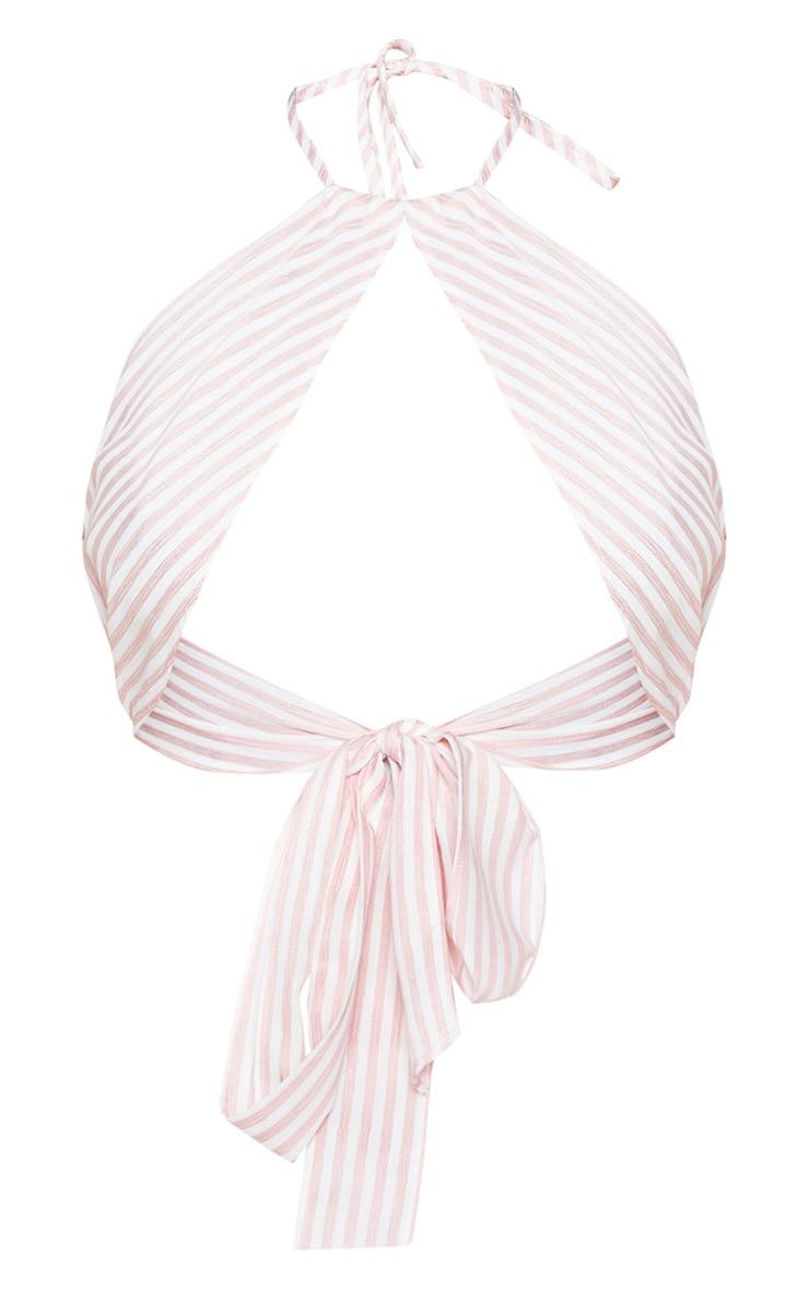 Baby Pink Woven Stripe Halterneck Crop Top  3