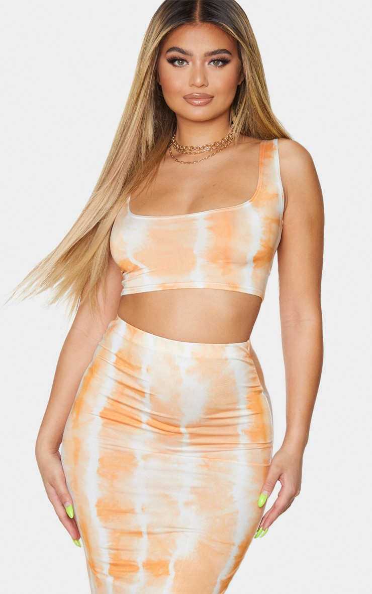 Orange Tie Dye Print Slinky Square Neck Sleeveless Crop Top 1