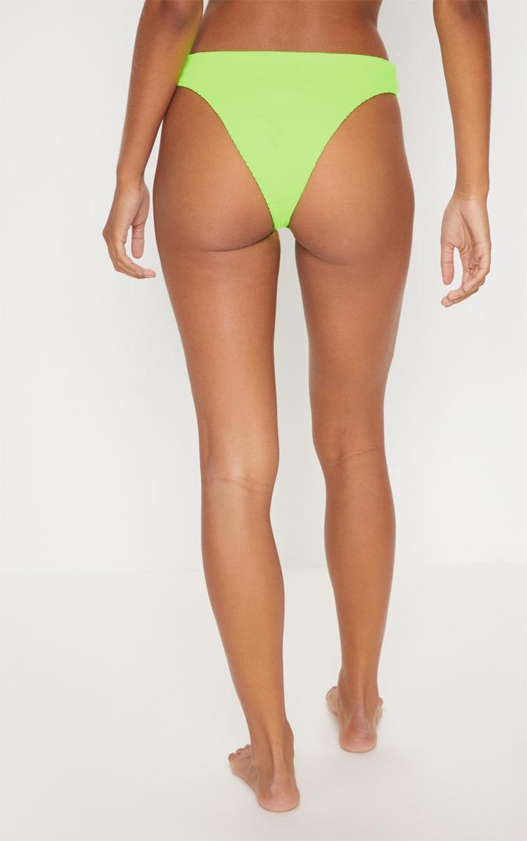 Neon Lime Crinkle V Front Bikini Bottom 4