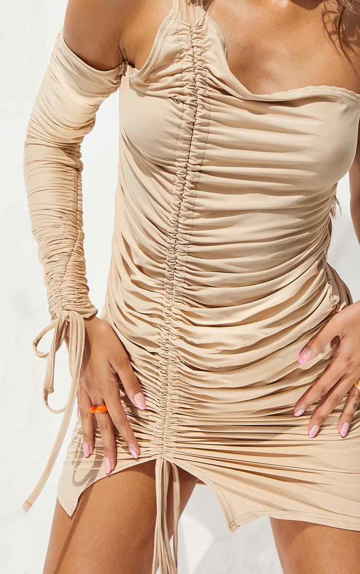 Stone Slinky Cold Shoulder Detail Ruched Bodycon Dress 4