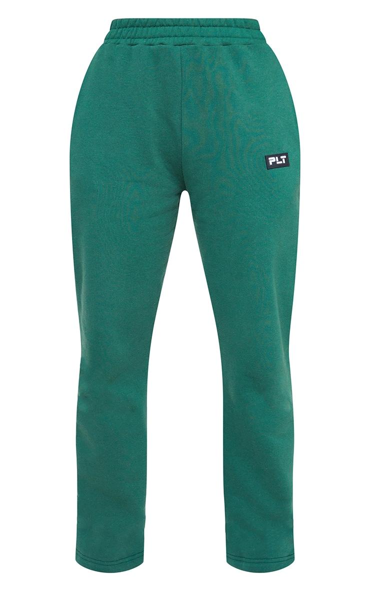 PRETTYLITTLETHING Forest Green Badge Detail Straight Leg Joggers 5