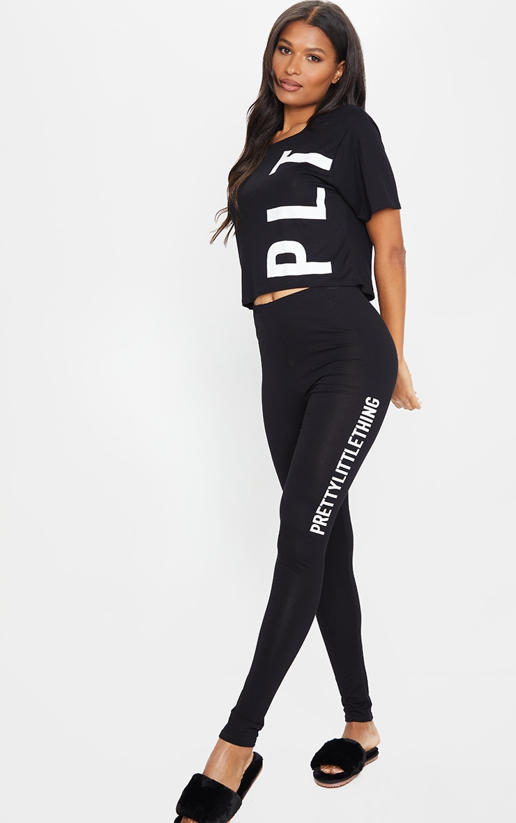 PRETTYLITTLETHING Black Legging PJ Set 1