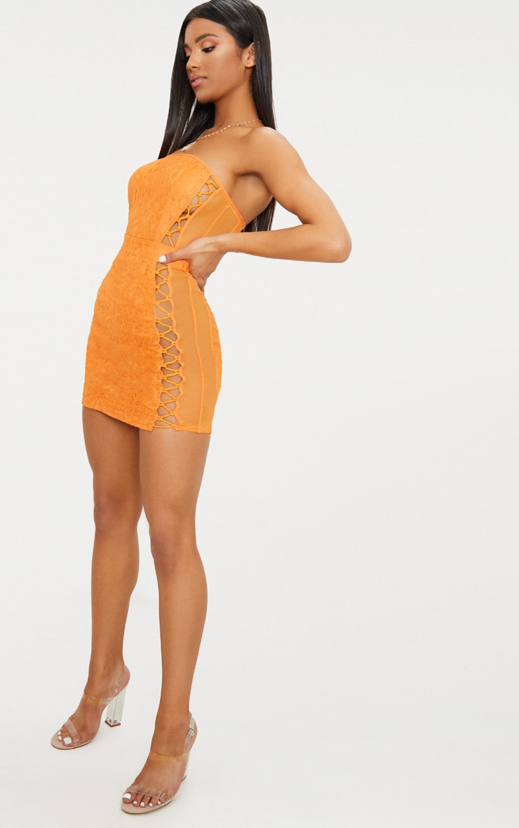 Orange Lace Bandeau Mesh Panel Lace Up Bodycon Dress  4