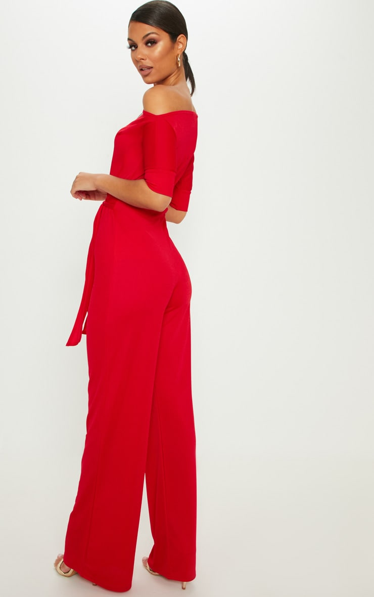 Red Off Shoulder Tie Waist Wide Leg Jumpsuit 2