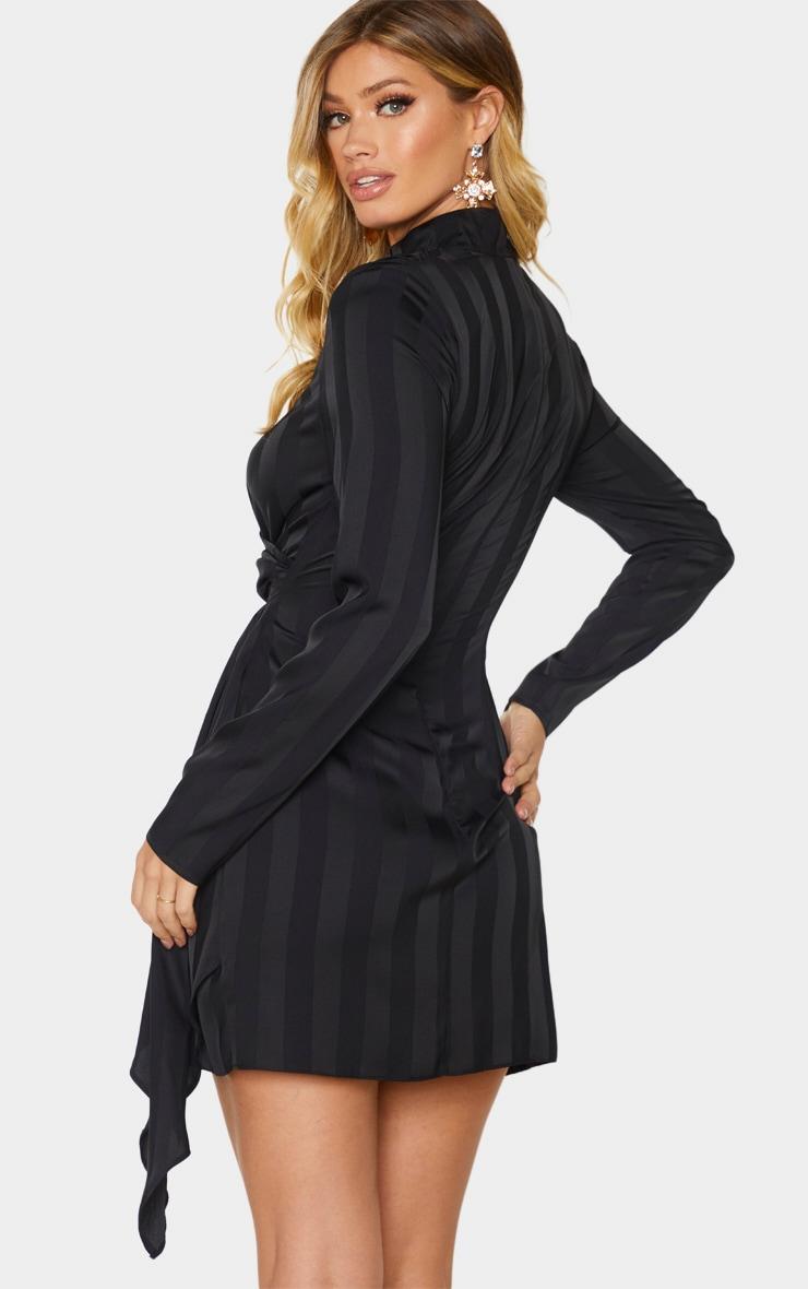 Black Striped High Neck Draped Bodycon Dress 2