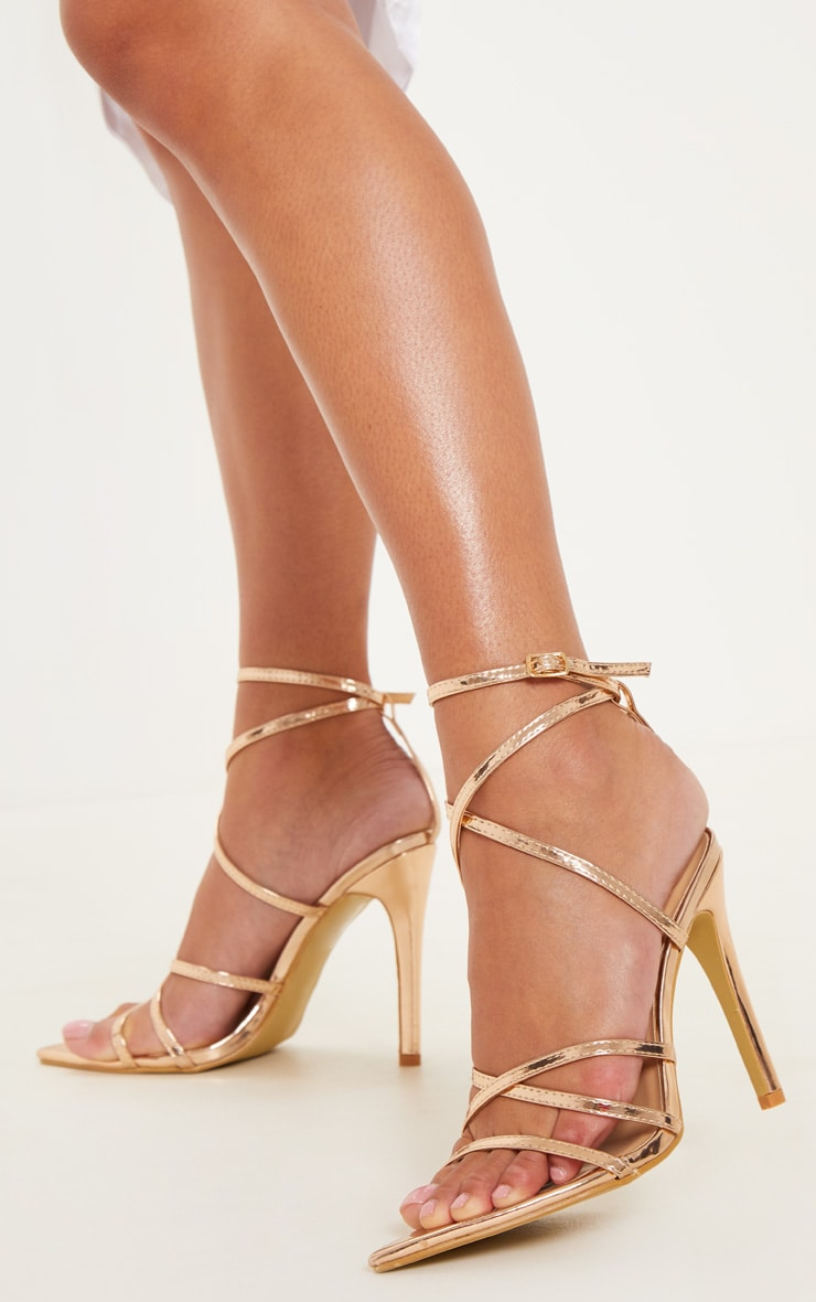 Rose Gold Point Toe Strappy Sandals