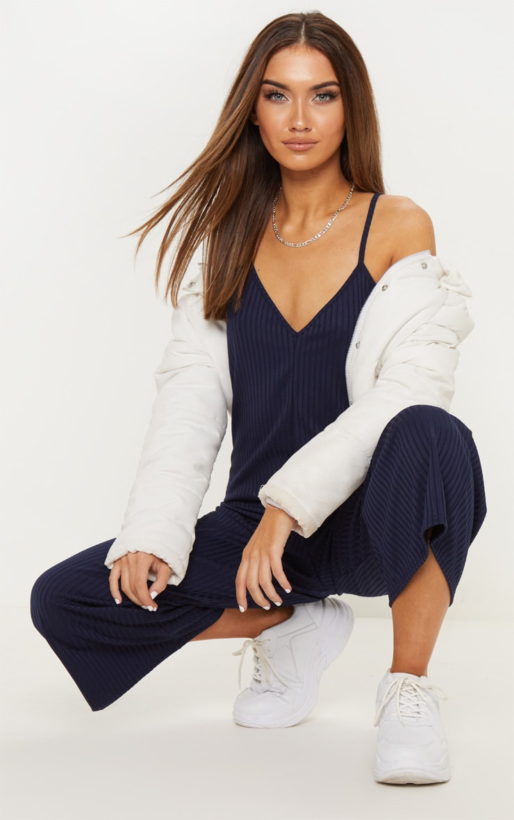 Navy Ribbed V Neck Oversized Jumpsuit 4
