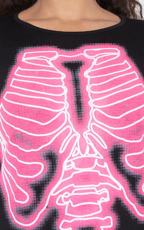 Plus Black Neon Skeleton Oversized T Shirt Dress 5