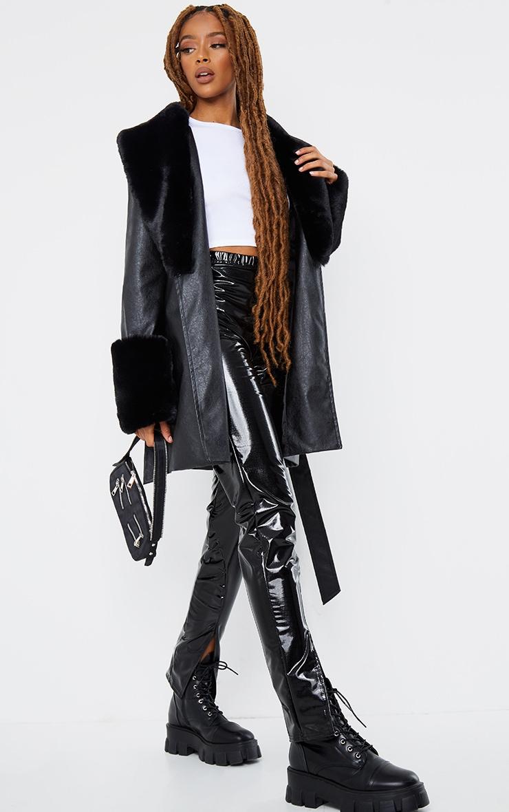 Black PU Detachable Faux Fur Mini Trench 3
