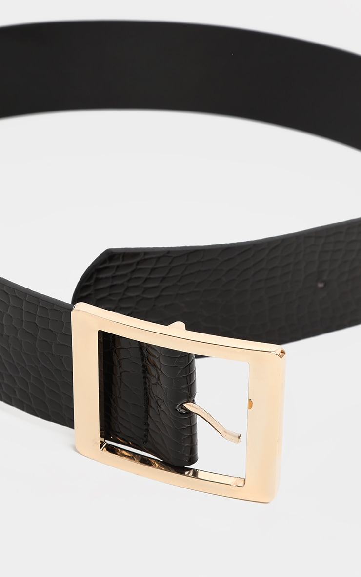 Black Patent Croc PU Square Buckle Waist Belt 2