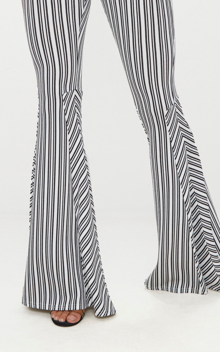 Black and White Stripe Extreme Flare Trouser 4