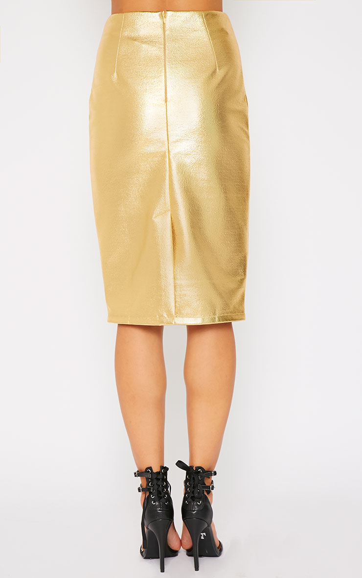 Catalina Gold Coated Midi Skirt 2