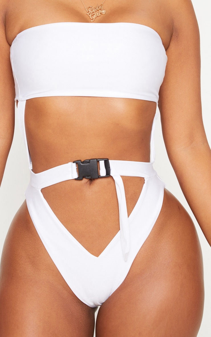 Shape White Buckle Waist Cut Out Swimsuit 4