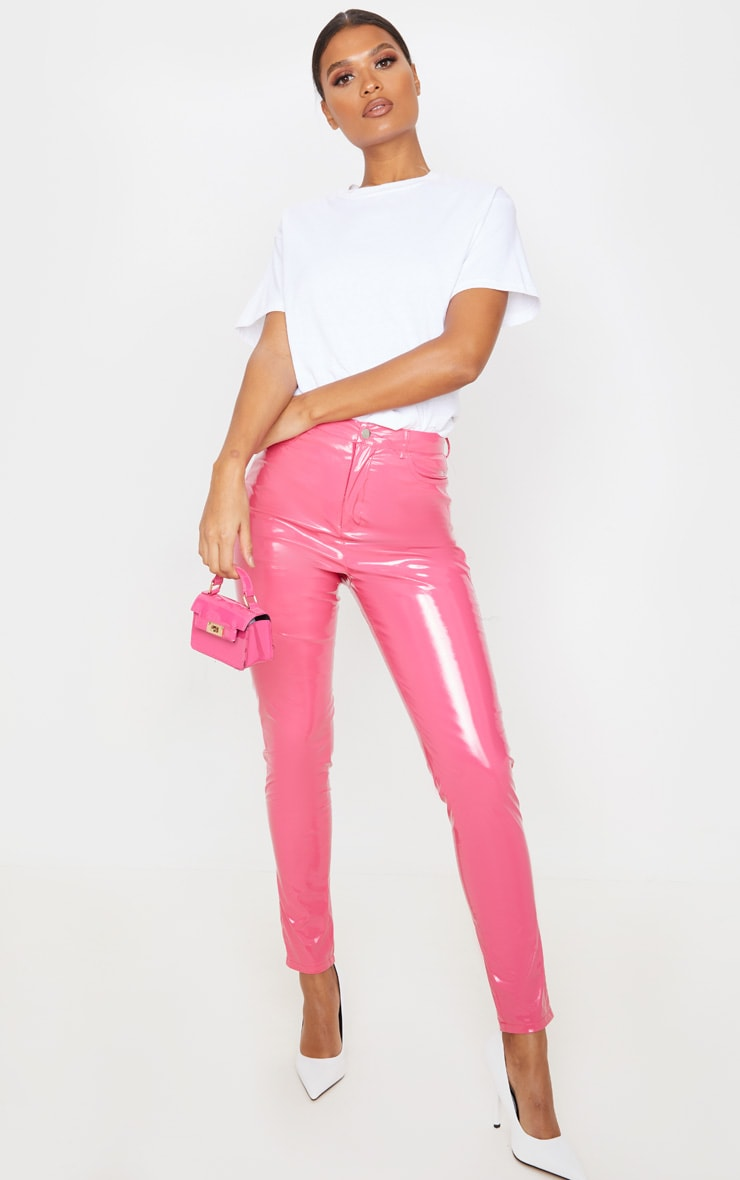 Hot Pink Button Front Vinyl Skinny Trouser 1