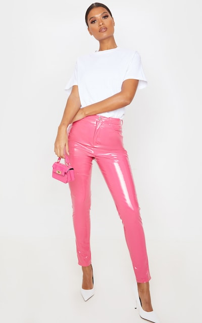 Hot Pink Button Front Vinyl Skinny Trouser