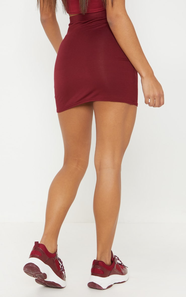 Burgundy Basic Jersey Mini Skirt 4