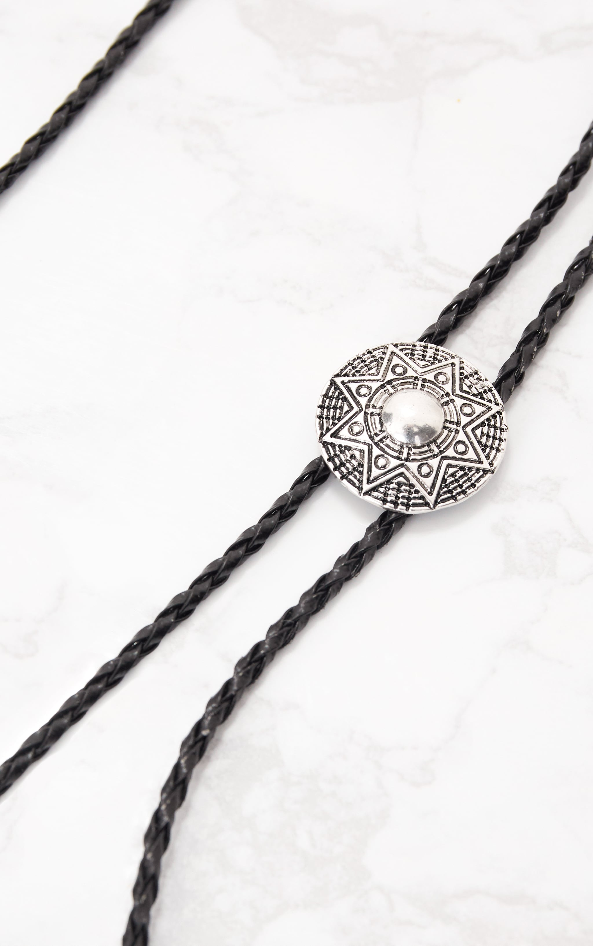 Black Braided Western Style Bolo Tie Necklace 4