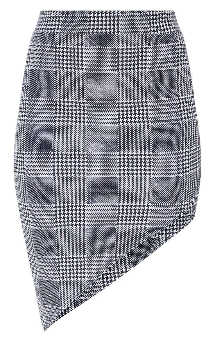 Black Check Asymmetric Hem Midi Skirt 3