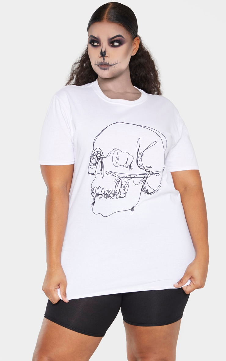 Plus White Skull Tee Shirt 1