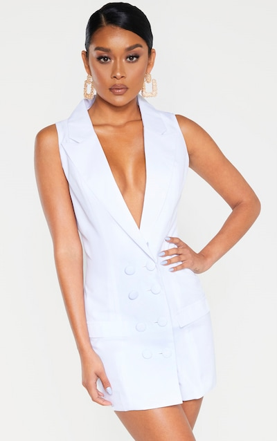 White Extreme Plunge Sleeveless Blazer Dress
