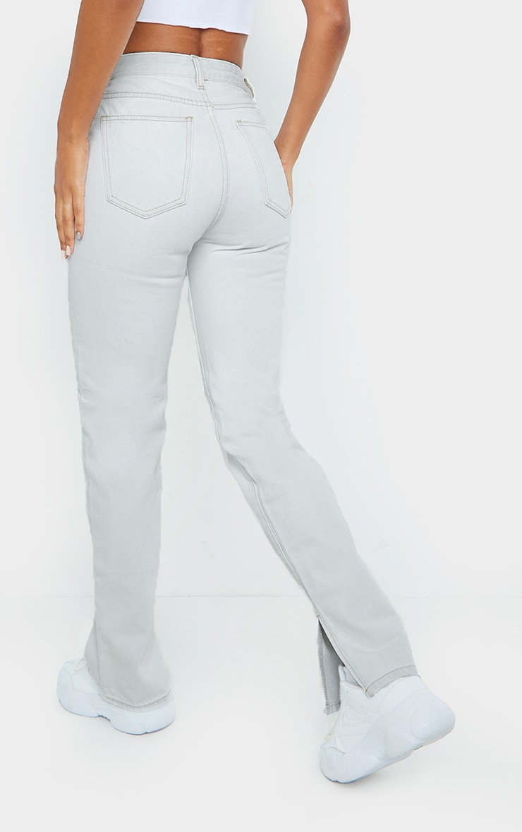 Bleach Wash Cut Out Hip Split Hem Jeans 3
