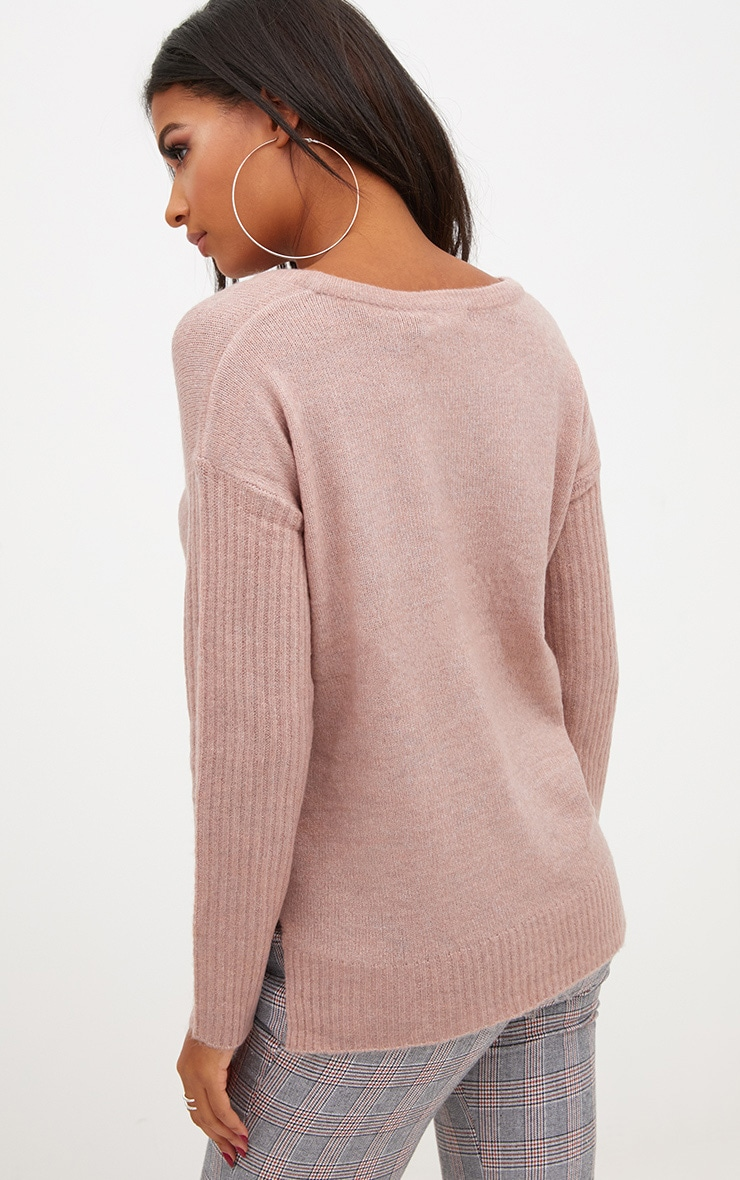 Pink Drop Shoulder Rib Sleeve Jumper 2