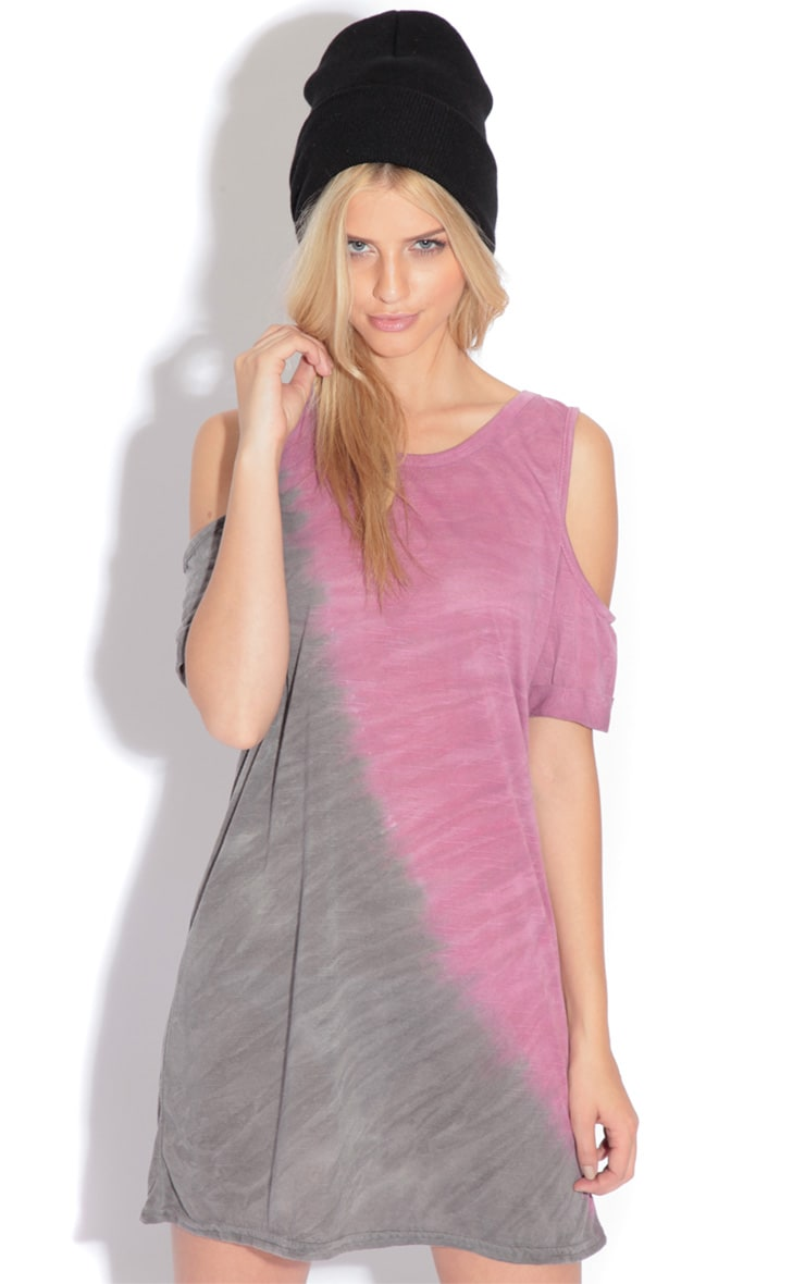 Leah Purple & Grey Tie Dye Cut Out Shoulder Top 2