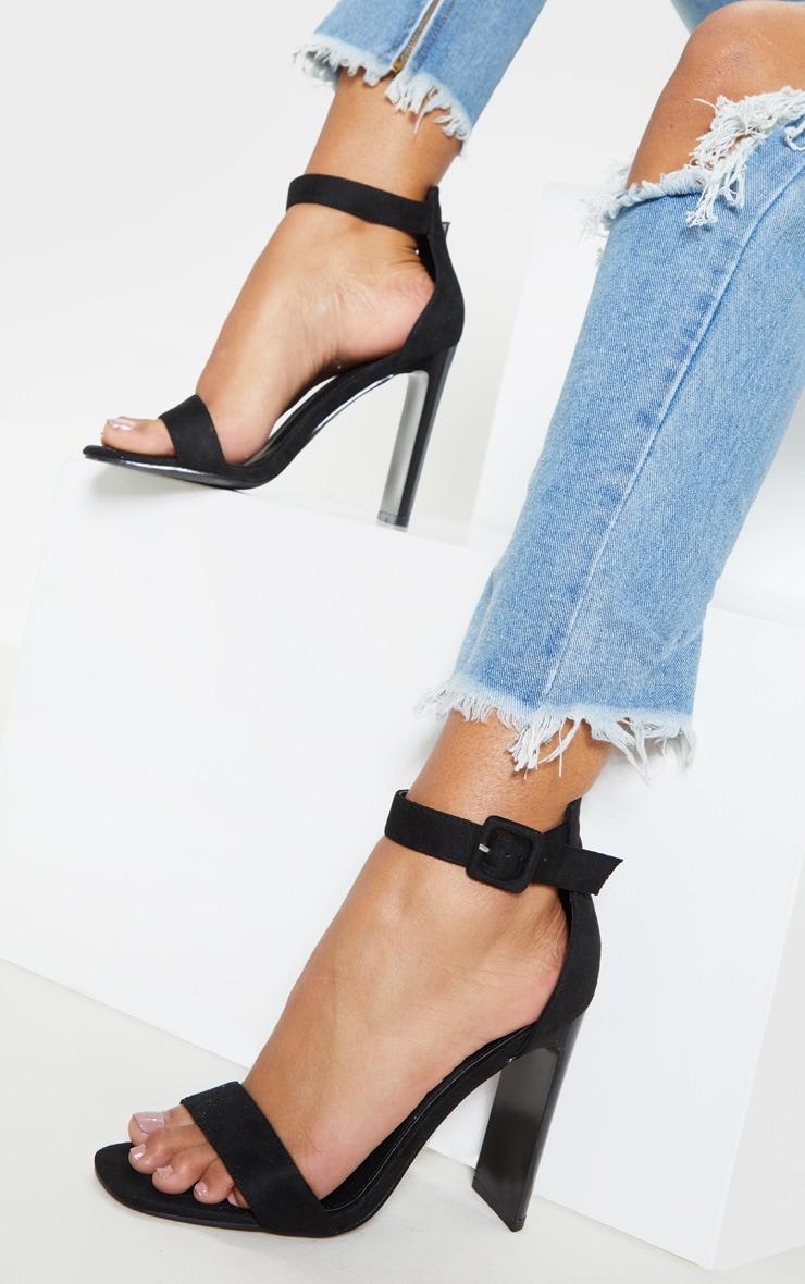 Black Flat Heel Sandal  1