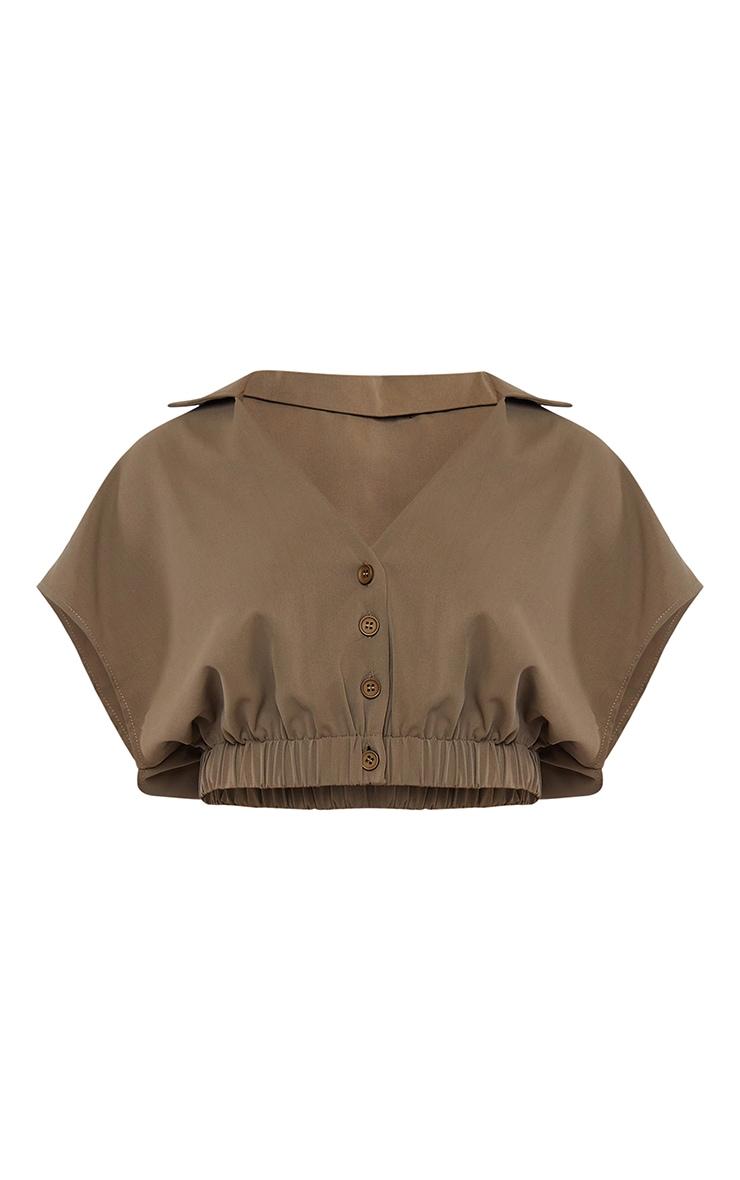 Khaki Woven Chiffon Button Front Short Sleeve Cropped Shirt 5