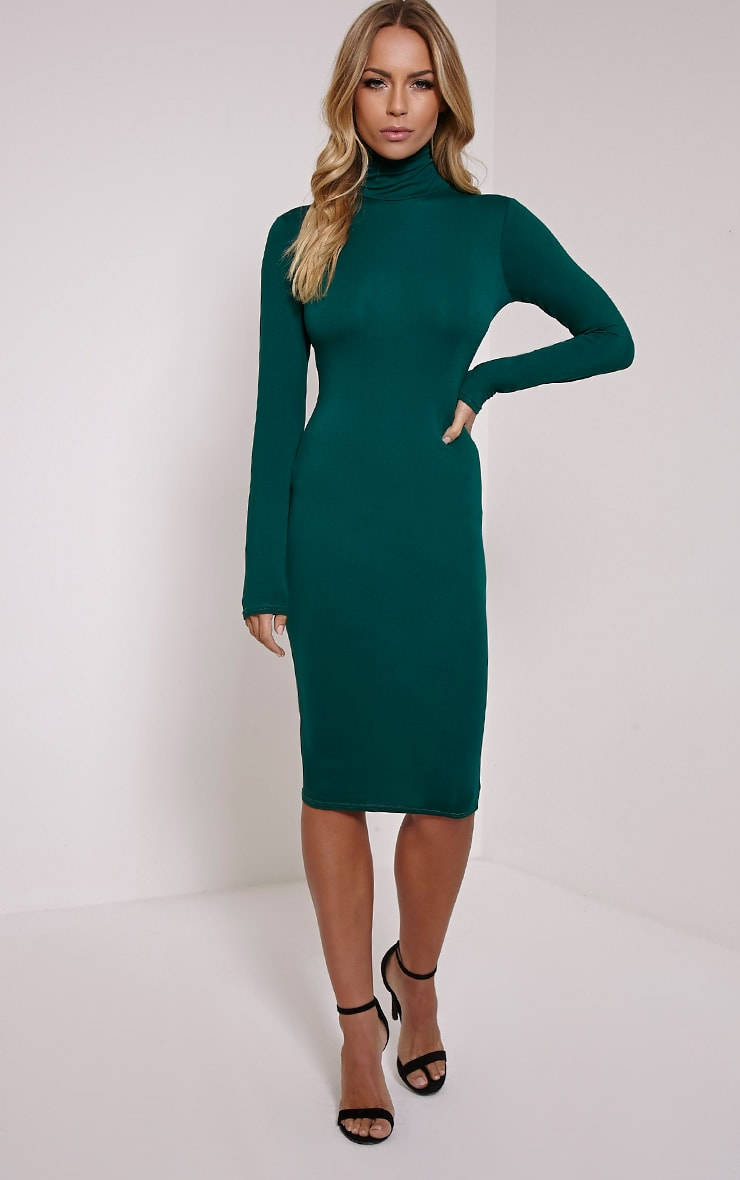 Basic Bottle Green Roll Neck Midi Dress 1