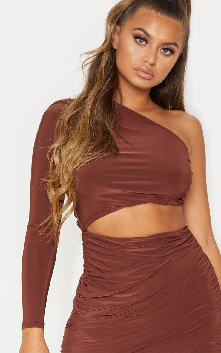 Chocolate Brown Ruched Cut Out Detail Bodycon Dress 6