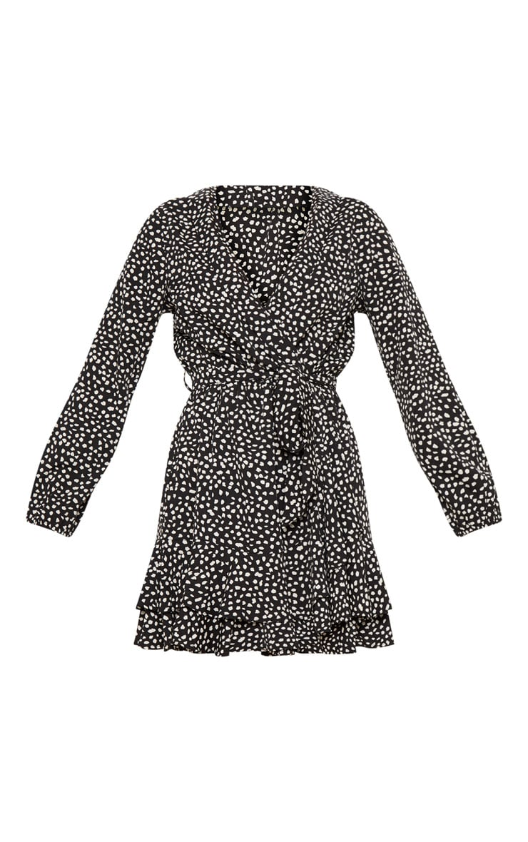 Black Dalmatian Print Wrap Long Sleeve Tea Dress 3