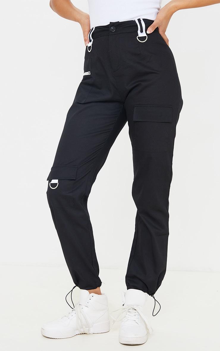 Black Pocket Detail Cargo Trouser 2