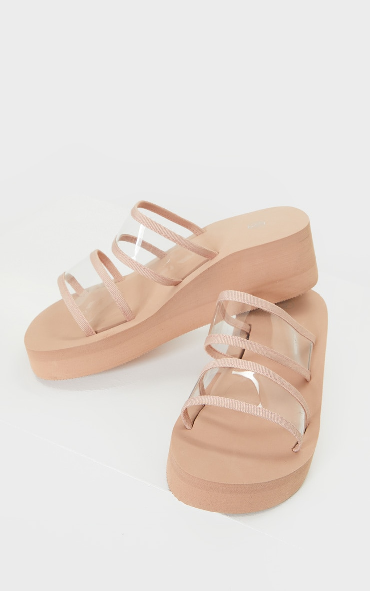 Nude Clear Twin Strap Flatforms 4