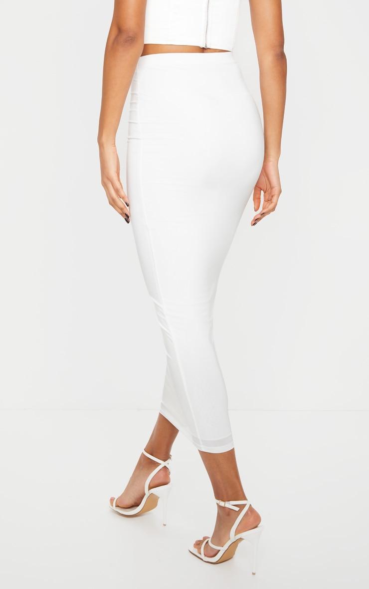 White Second Skin Slinky Midaxi Skirt 4
