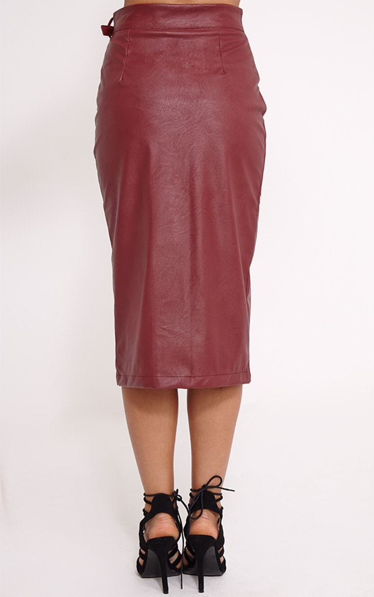 Silvia Burgundy Faux Leather Zip Front Midi Skirt 4