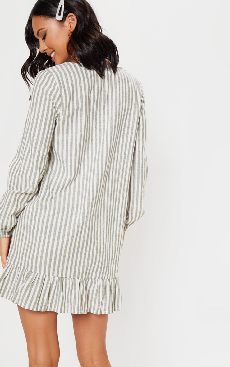 Sage Green  Stripe Pleated Button Through Smock Dress 2