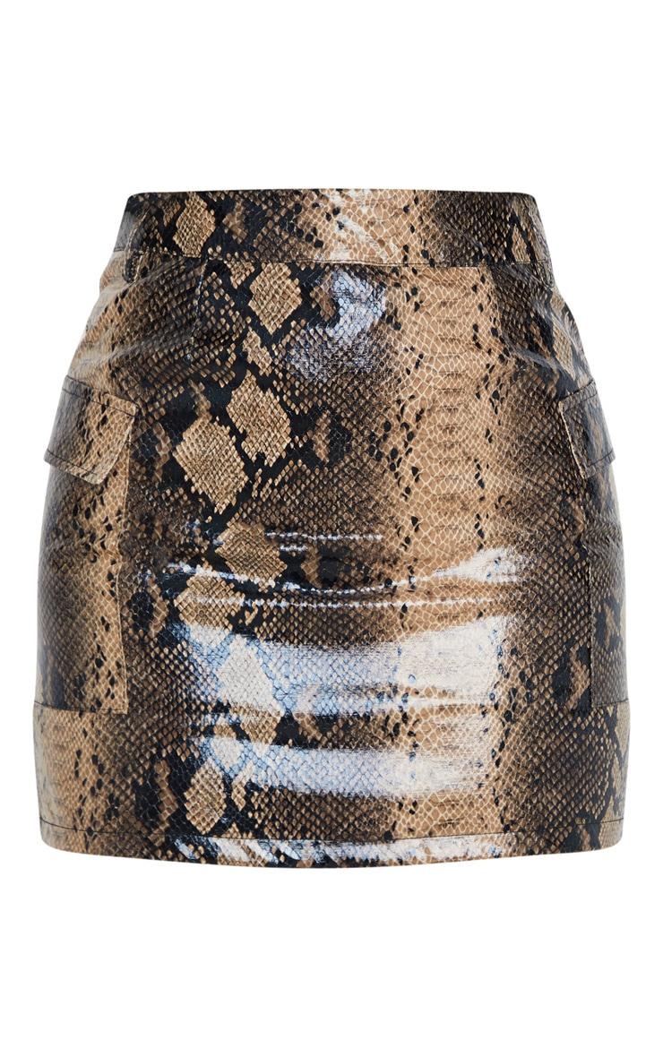 Brown Snakeskin Belted Mini Skirt 3
