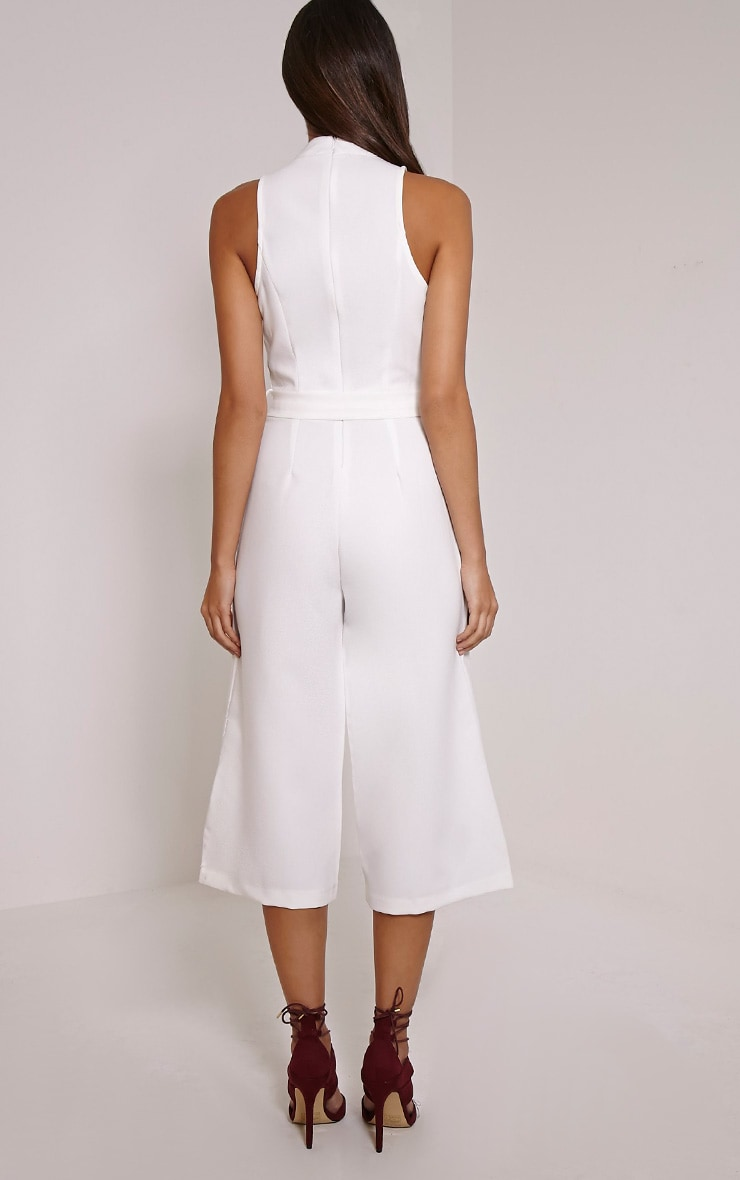 Candace White High Neck D Ring Culotte Jumpsuit 2