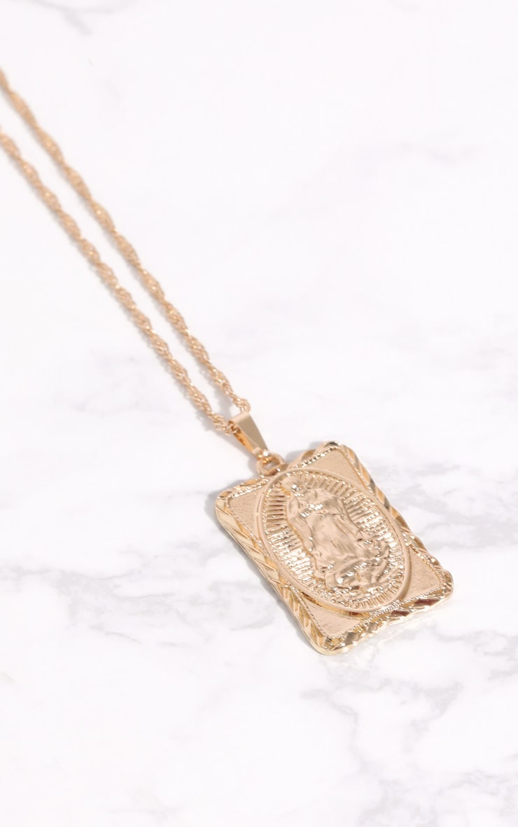 Gold Square Renaissance Pendant Necklace 3
